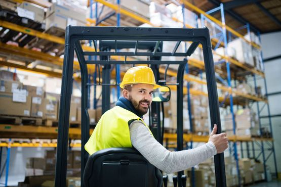 man in fork lift
